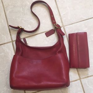 Coach leather red shoulder bag 10x8,5x4""